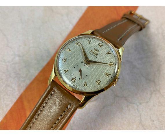 NOS FORTIS Reloj suizo antiguo de cuerda plaqué or Cal ETA 1120 OVERSIZE DIAL TEXTURIZADO *** NUEVO ANTIGUO STOCK ***