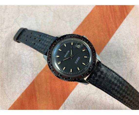 INVICTA WORLD TIME Reloj vintage suizo automático Cal. FHF 90-5 DIVER 25 Jewels Ref. 27177 OVERSIZE *** MINT ***