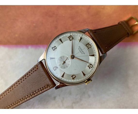 DOKAP Vintage swiss manual winding watch Plaqué OR. OVERSIZE. Cal EB 1197. Modernist Typography *** SPECTACULAR DIAL ***
