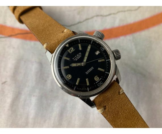 TITAN SUPER COMPRESSOR Vintage swiss automatic PLONGEUR watch Black dial 25 jewels Cal. AS 1700-01 Internal bezel *** DIVER ***