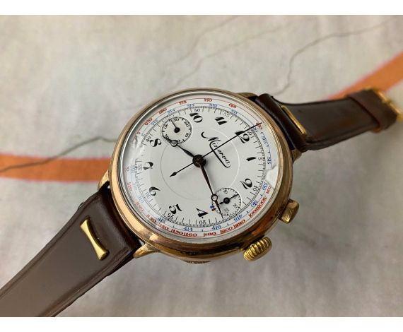 MINERVA BIG PILOT Reloj Cronógrafo Vintage suizo de cuerda Cal. 19CH Monopulsador. GIGANTE *** COLECCIONISTAS ***