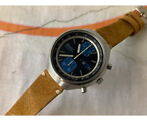 SEIKO Vintage automatic chronograph watch Ref. 6138-8030 Cal. 6138-B JAPAN *** BLUE DIAL ***