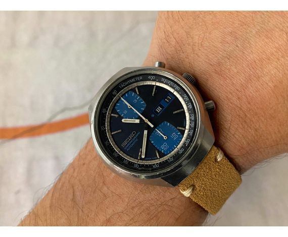 SEIKO Reloj cronógrafo vintage automático Ref. 6138-8030 Cal. 6138-B JAPAN *** DIAL AZUL ***