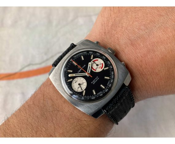 CERTINA ARGONAUT CHRONO Reloj suizo cronógrafo antiguo de cuerda Cal. 29-053 (Valjoux 23) *** DIAL PANDA REVERSO ***
