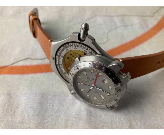 "CANDINO COMPASS 100M DIVER Reloj Brújula vintage suizo de cuarzo ""Flip-out"". GIGANTE *** RAREZA ***"