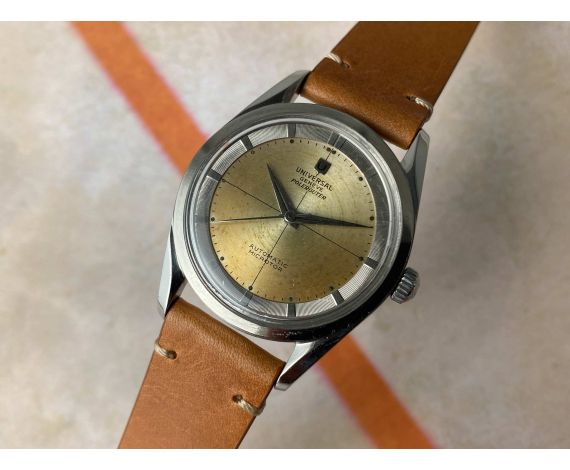 UNIVERSAL GENEVE POLEROUTER Ref. 20357-2 Vintage swiss automatic watch 28 JEWELS Cal. 215 MICROTOR *** PATINA ***