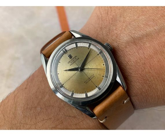 UNIVERSAL GENEVE POLEROUTER Ref. 20357-2 Reloj suizo vintage automático 28 JEWELS Cal. 215 MICROTOR *** PATINA ***