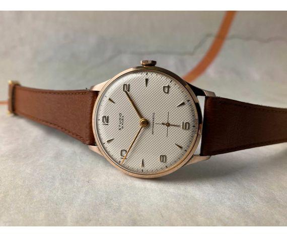 NOS STUDIO Reloj Vintage suizo de cuerda Plaqué OR Cal. Vulcain 590 DIAL TEXTURIZADO. OVERSIZE 38 mm *** NEW OLD STOCK ***