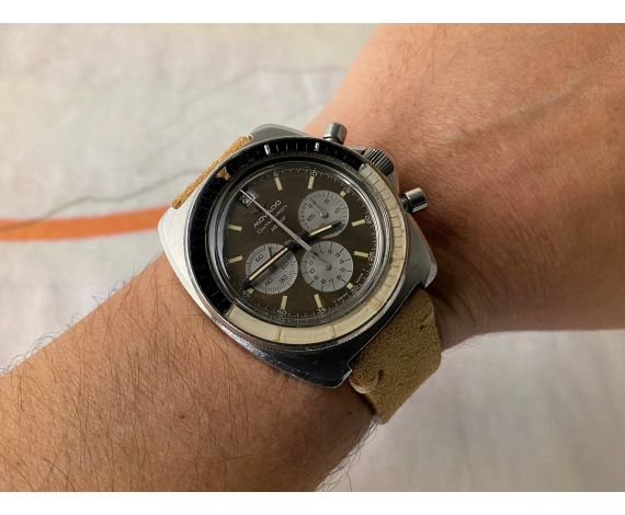 MOVADO DATACHRON HS 360 Vintage chronograph automatic watch Cal 3019 PHC. SUPER SUB SEA 10 ATM *** GREEN CHOCOLATE PATINA ***