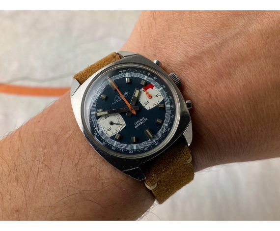 LORANDO RACING Vintage swiss chronograph hand winding watch Cal. Valjoux 7733 *** BLUE DIAL ***