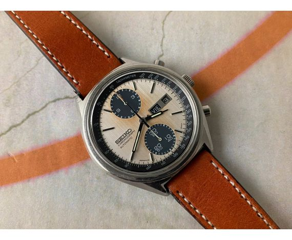 SEIKO PANDA Reloj cronógrafo antiguo automático 1977 Cal. 6138-B Ref. 6138-8020 *** ESPECTACULAR DIAL TROPICALIZADO ***