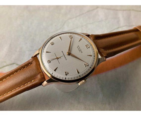 NOS STUDIO OVERSIZE Reloj Vintage suizo de cuerda Plaqué OR Cal. Vulcain 590 DIAL TEXTURIZADO *** NUEVO DE ANTIGUO STOCK ***