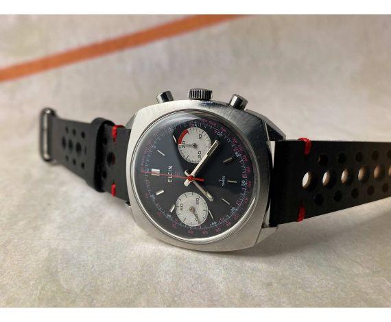 ELGIN Reloj Vintage cronógrafo de cuerda Cal. Valjoux 7733 ESTILO RACING 5 ATM *** PANDA REVERSE ***
