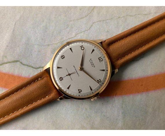 NOS STUDIO Reloj Vintage suizo de cuerda Plaqué OR Cal. Vulcain 590 TEXTURIZADO. OVERSIZE 38 mm *** NUEVO DE ANTIGUO STOCK ***