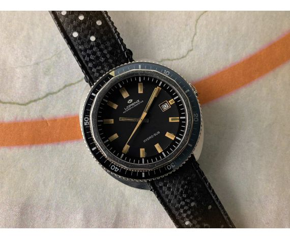 LORENZ HYDRO-SUB Reloj suizo antiguo automático SKIN DIVER 50 ATMOSPHERES Corona Roscada Cal. ETA 2472 *** GRAN DIÁMETRO ***