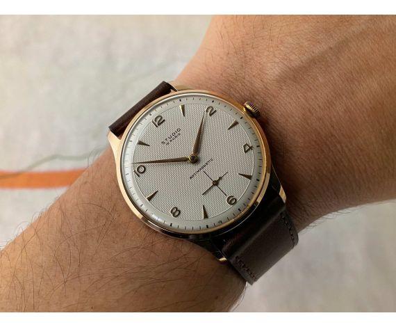 NUEVO DE ANTIGUO STOCK STUDIO Reloj vintage suizo de cuerda Cal Vulcain 590 OVERSIZE. Plaque OR. DIAL ESPECTACULAR *** NOS ***