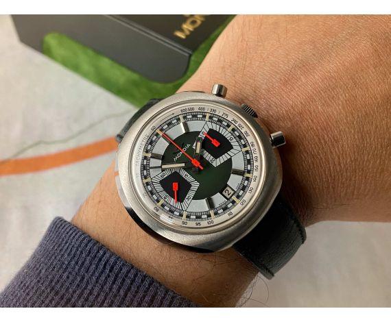 NOS MONDIA Reloj Vintage suizo de cuerda Cronógrafo Cal. Valjoux 7734 Ref. 02.809.60 NEW OLD STOCK *** COLECCIONISTAS ***
