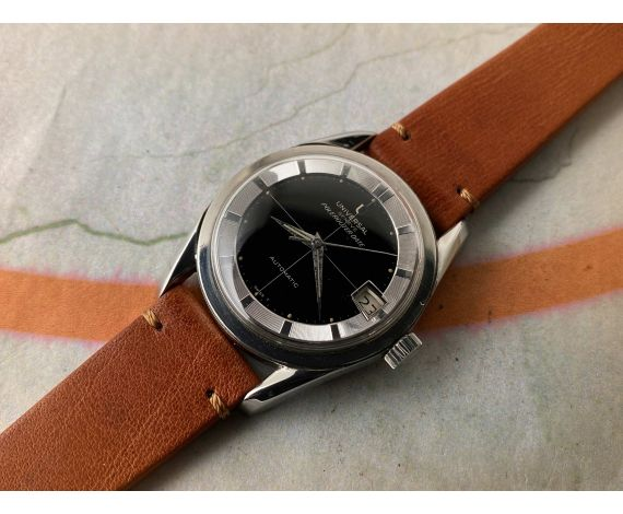 UNIVERSAL GENEVE POLEROUTER DATE Ref. 204612-2 Reloj suizo antiguo automático Cal. 218-2. GLOSSY DIAL *** ESPECTACULAR ***