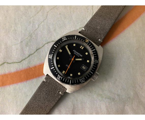 AQUASTAR GENÈVE ATOLL Vintage swiss automatic watch Cal. AS 1903 DIVER Bidirectional bezel *** COLLECTORS ***