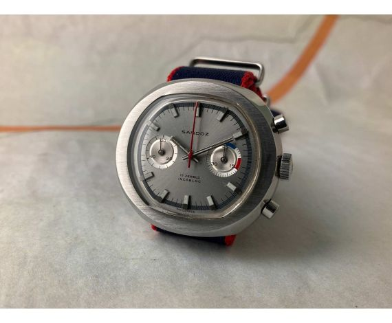 SANDOZ Vintage swiss hand winding chronograph watch Cal. Valjoux 7733 Ref. 1813Z - 69 *** OVERSIZE ***