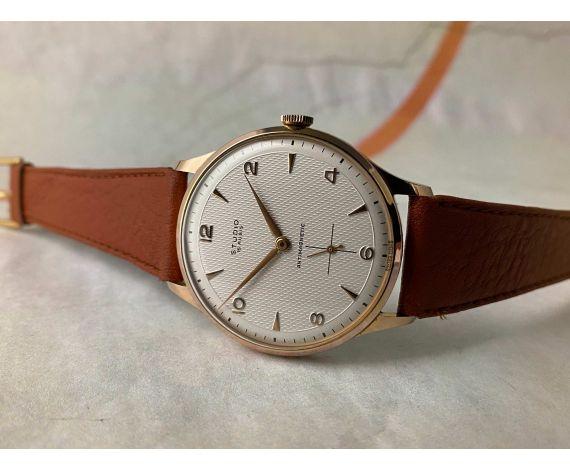 STUDIO Reloj vintage suizo de cuerda Cal. Vulcain 590 GRAN DIÁMETRO Plaqué OR *** DIAL ESPECTACULAR ***