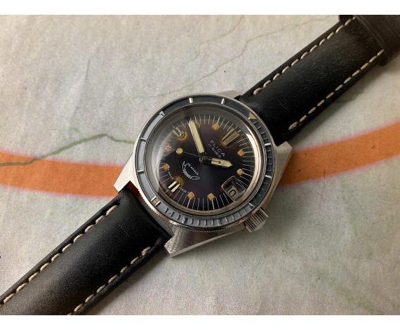 FLICA SQUALE 250 SUPERMATIC Reloj suizo antiguo automático 25 ATMOS Cal. 4007N Corona Roscada *** GRAN DIÁMETRO ***