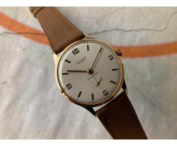 NOS STUDIO 38 mm Reloj vintage suizo de cuerda Cal Vulcain 590 Plaque OR DIAL PRECIOSO gran diámetro *** NUEVO DE ANTIGUO STOCK