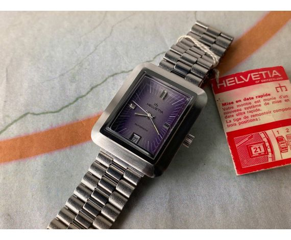 NOS Helvetia Reloj suizo vintage automático 5 ATM Nuevo antiguo Stock *** ESPECTACULAR ***
