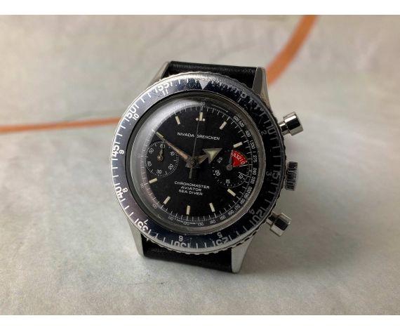 NIVADA GRENCHEN CHRONOMASTER AVIATOR SEA DIVER Reloj vintage suizo cronógrafo de cuerda Cal. Valjoux 92 *** PRECIOSO ***