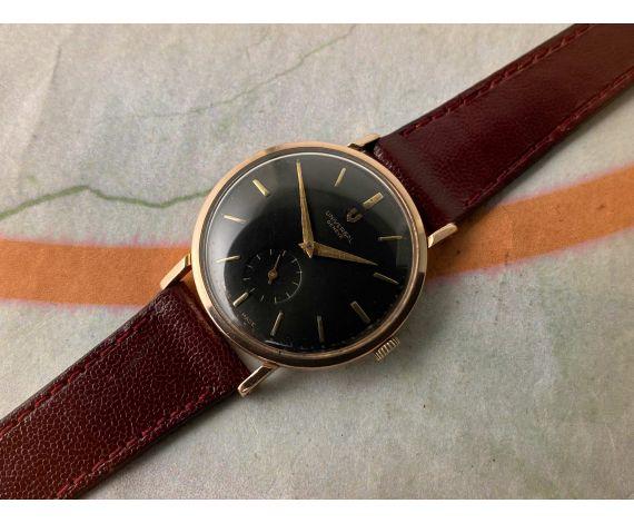 UNIVERSAL GENEVE Reloj suizo antiguo de cuerda. Dial negro. Oro 18K 0,750 Cal UG 330 *** COLECCIONISTAS ***