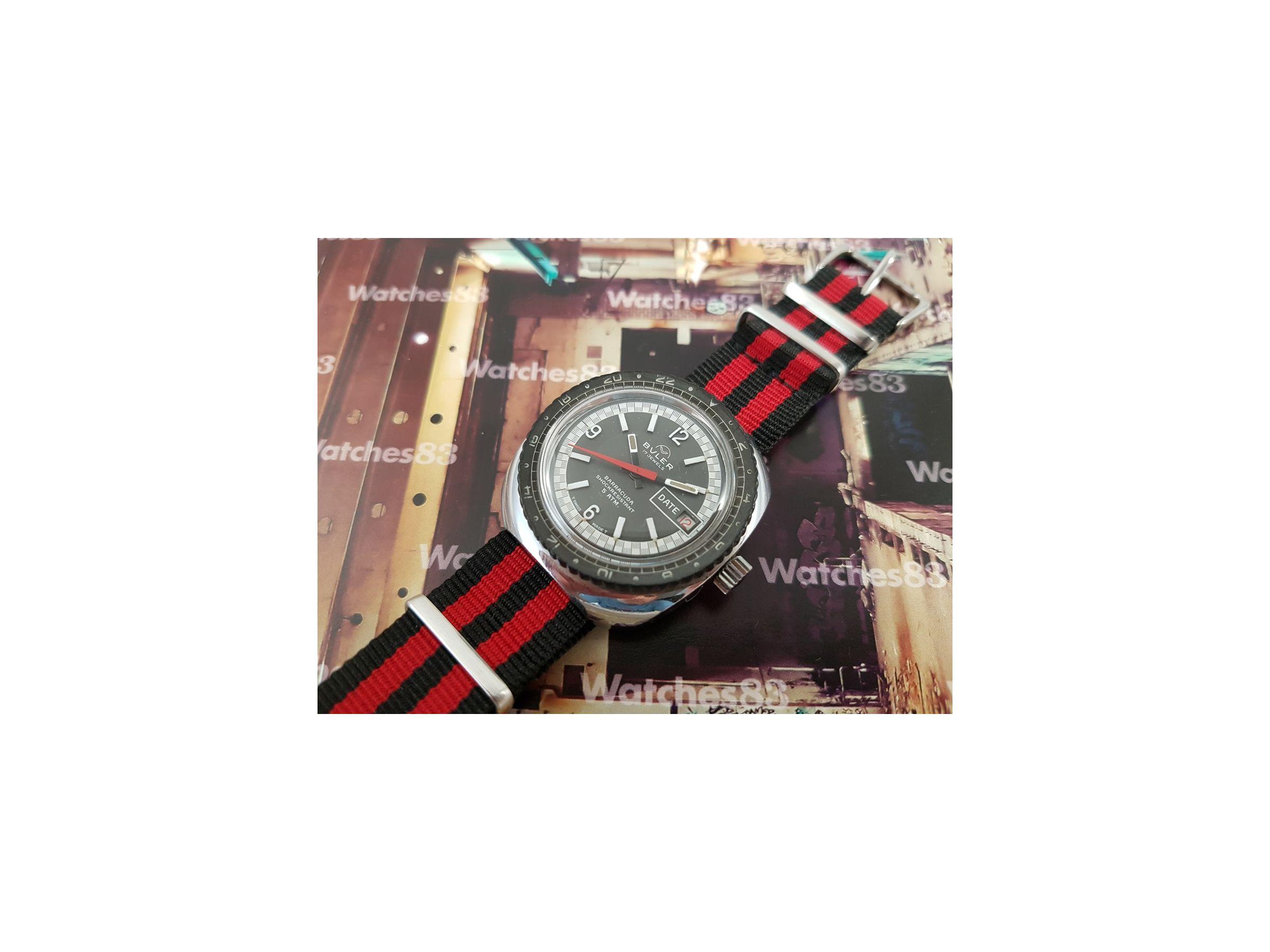 Antiguo Jewels Buler 17 Diver Cuerda De Suizo Barracuda Reloj N8wkX0nPO