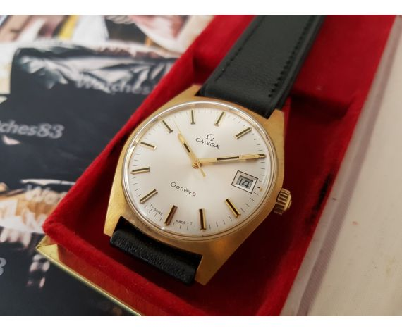 Reloj suizo antiguo de cuerda OMEGA Plaqué OR + Estuche ** NOS **