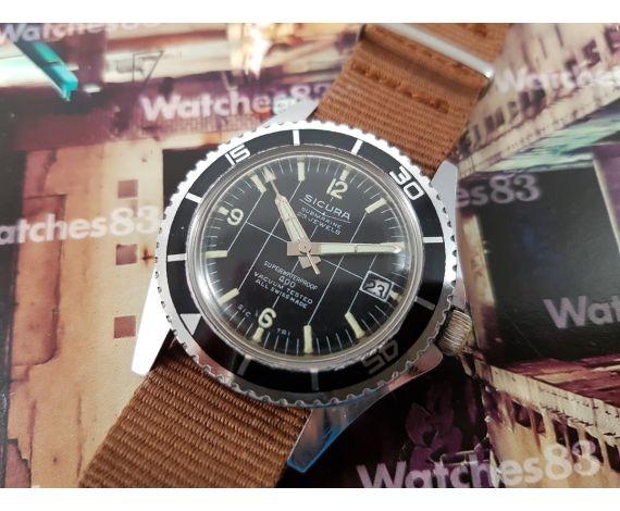 Sicura Submarine reloj suizo antiguo de cuerda. Oversize Diver